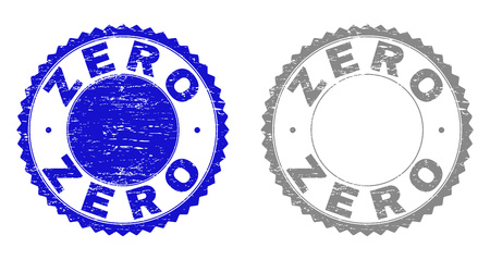 Grunge ZERO stamp seals isolated on a white background. Rosette seals with grunge texture in blue and grey colors. Vector rubber stamp imitation of ZERO caption inside round rosette.