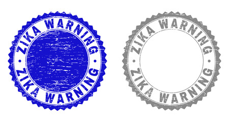 Grunge ZIKA WARNING stamp seals isolated on a white background. Rosette seals with distress texture in blue and grey colors. Vector rubber stamp imitation of ZIKA WARNING caption inside round rosette.