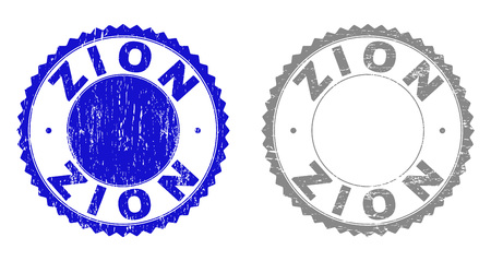 Grunge ZION stamp seals isolated on a white background. Rosette seals with grunge texture in blue and grey colors. Vector rubber overlay of ZION text inside round rosette.