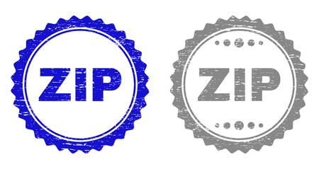 Grunge ZIP stamp seals isolated on a white background. Rosette seals with grunge texture in blue and grey colors. Vector rubber stamp imitation of ZIP label inside round rosette.