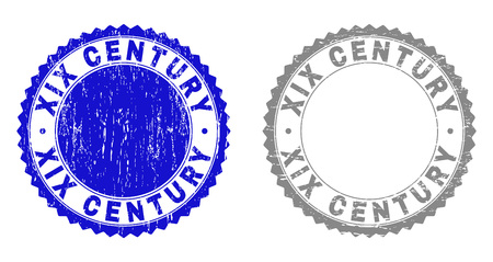 Grunge XIX CENTURY stamp seals isolated on a white background. Rosette seals with distress texture in blue and grey colors. Vector rubber stamp imprint of XIX CENTURY caption inside round rosette.