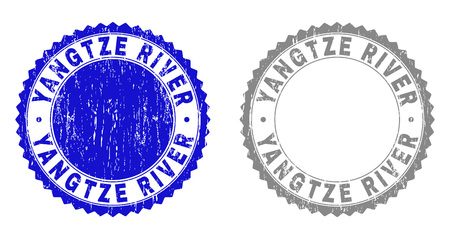 Grunge YANGTZE RIVER watermarks isolated on a white background. Rosette seals with distress texture in blue and grey colors. Vector rubber stamp imprint of YANGTZE RIVER text inside round rosette.