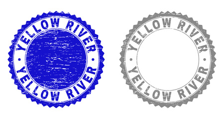 Grunge YELLOW RIVER stamp seals isolated on a white background. Rosette seals with grunge texture in blue and grey colors. Vector rubber stamp imitation of YELLOW RIVER caption inside round rosette.
