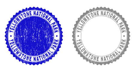 Grunge YELLOWSTONE NATIONAL PARK stamp seals isolated on a white background. Rosette seals with distress texture in blue and grey colors.
