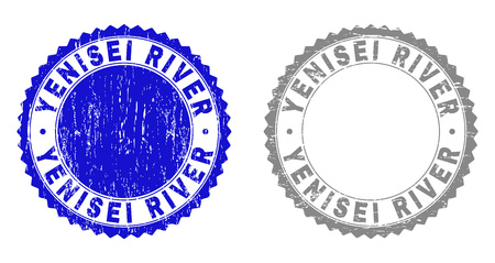 Grunge YENISEI RIVER stamp seals isolated on a white background. Rosette seals with grunge texture in blue and grey colors. Vector rubber stamp imprint of YENISEI RIVER tag inside round rosette. Foto de archivo - 125277146