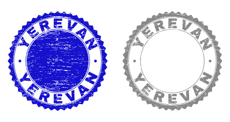 Grunge YEREVAN stamp seals isolated on a white background. Rosette seals with grunge texture in blue and gray colors. Vector rubber stamp imprint of YEREVAN caption inside round rosette.