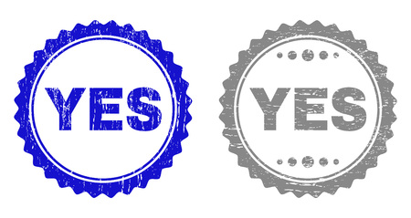Grunge YES stamp seals isolated on a white background. Rosette seals with distress texture in blue and gray colors. Vector rubber stamp imprint of YES text inside round rosette. Ilustrace