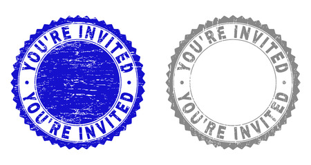Grunge YOURE INVITED stamp seals isolated on a white background. Rosette seals with grunge texture in blue and gray colors. Vector rubber stamp imprint of YOURE INVITED tag inside round rosette.
