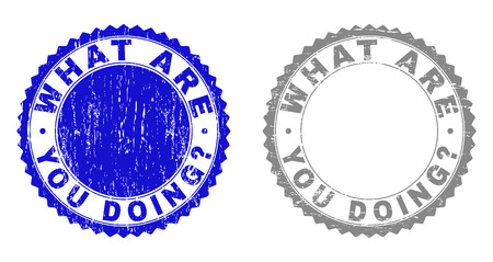 Grunge WHAT ARE YOU DOING? watermarks isolated on a white background. Rosette seals with grunge texture in blue and grey colors. Foto de archivo - 125277184