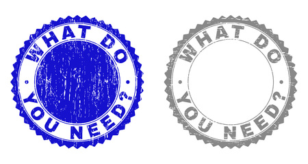 Grunge WHAT DO YOU NEED? stamp seals isolated on a white background. Rosette seals with grunge texture in blue and gray colors. Foto de archivo - 125277185