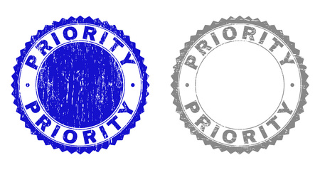 Grunge PRIORITY stamp seals isolated on a white background. Rosette seals with grunge texture in blue and gray colors. Vector rubber stamp imprint of PRIORITY title inside round rosette. Ilustrace