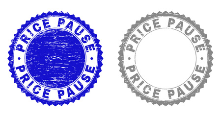 Grunge PRICE PAUSE stamp seals isolated on a white background. Rosette seals with grunge texture in blue and gray colors. Vector rubber stamp imprint of PRICE PAUSE caption inside round rosette.