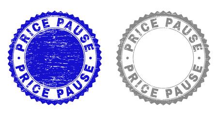 Sellos de sello Grunge PRECIO PAUSA aislados en un fondo blanco. Sellos de roseta con textura grunge en colores azul y gris. Impresión de sello de goma de vector del título de PAUSA de PRECIO dentro de roseta redonda.