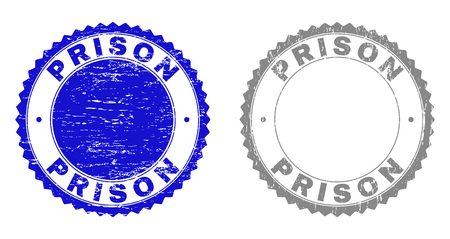 Grunge PRISON stamp seals isolated on a white background. Rosette seals with distress texture in blue and gray colors. Vector rubber stamp imprint of PRISON caption inside round rosette.