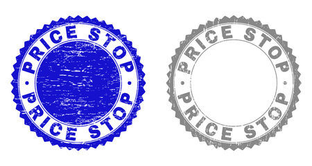 Grunge PRICE STOP stamp seals isolated on a white background. Rosette seals with grunge texture in blue and gray colors. Vector rubber stamp imitation of PRICE STOP text inside round rosette.