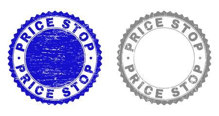 Sellos de sello Grunge PRICE STOP aislados en un fondo blanco. Sellos de roseta con textura grunge en colores azul y gris. Imitación del sello de goma del vector del texto de la parada del precio dentro de la roseta redonda.
