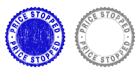 Grunge PRICE STOPPED stamp seals isolated on a white background. Rosette seals with distress texture in blue and gray colors. Vector rubber stamp imprint of PRICE STOPPED tag inside round rosette. Vectores