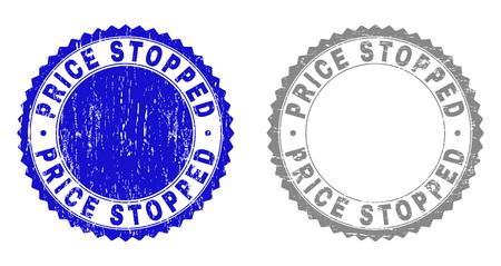 Sellos de sello de Grunge PRICE STOPPED aislados sobre un fondo blanco. Sellos de roseta con textura de socorro en colores azul y gris. Impresión de sello de goma de vector de etiqueta de precio detenido dentro de roseta redonda.