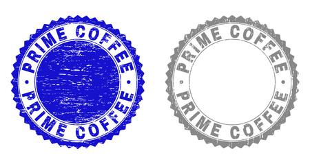 Grunge PRIME COFFEE stamp seals isolated on a white background. Rosette seals with grunge texture in blue and grey colors. Vector rubber stamp imprint of PRIME COFFEE tag inside round rosette.