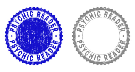 Grunge PSYCHIC READER stamp seals isolated on a white background. Rosette seals with grunge texture in blue and grey colors. Vector rubber stamp imprint of PSYCHIC READER text inside round rosette.