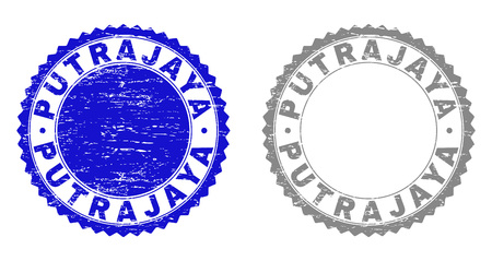 Grunge PUTRAJAYA stamp seals isolated on a white background. Rosette seals with grunge texture in blue and gray colors. Vector rubber stamp imitation of PUTRAJAYA caption inside round rosette. Illustration