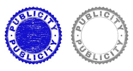 Grunge PUBLICITY stamp seals isolated on a white background. Rosette seals with grunge texture in blue and gray colors. Vector rubber stamp imitation of PUBLICITY tag inside round rosette.