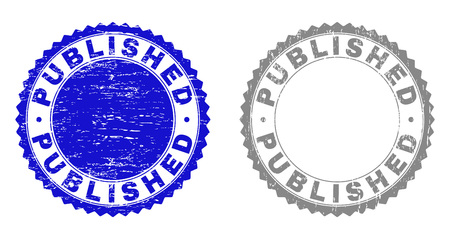 Grunge PUBLISHED stamp seals isolated on a white background. Rosette seals with grunge texture in blue and gray colors. Vector rubber stamp imprint of PUBLISHED label inside round rosette.  イラスト・ベクター素材