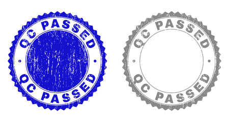 Grunge QC PASSED stamp seals isolated on a white background. Rosette seals with grunge texture in blue and gray colors. Vector rubber stamp imitation of QC PASSED tag inside round rosette.