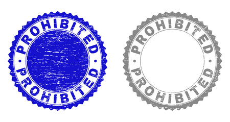 Grunge PROHIBITED stamp seals isolated on a white background. Rosette seals with grunge texture in blue and grey colors. Vector rubber stamp imitation of PROHIBITED tag inside round rosette.