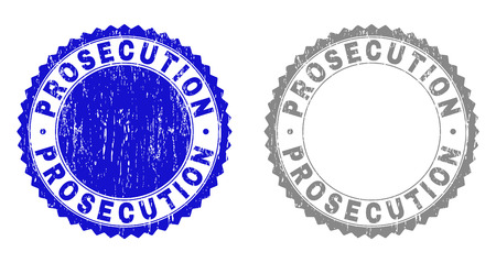 Grunge PROSECUTION stamp seals isolated on a white background. Rosette seals with grunge texture in blue and gray colors. Vector rubber stamp imitation of PROSECUTION tag inside round rosette.