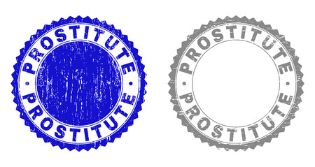 Grunge PROSTITUTE stamp seals isolated on a white background. Rosette seals with distress texture in blue and grey colors. Vector rubber stamp imprint of PROSTITUTE caption inside round rosette.