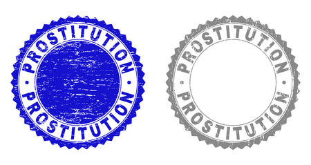 Grunge PROSTITUTION stamp seals isolated on a white background. Rosette seals with grunge texture in blue and grey colors. Vector rubber overlay of PROSTITUTION label inside round rosette.