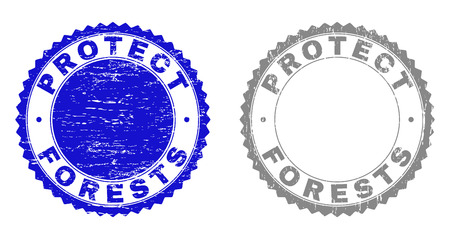 Grunge PROTECT FORESTS stamp seals isolated on a white background. Rosette seals with distress texture in blue and gray colors.