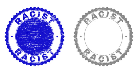 Grunge RACIST stamp seals isolated on a white background. Rosette seals with grunge texture in blue and gray colors. Vector rubber stamp imitation of RACIST tag inside round rosette.