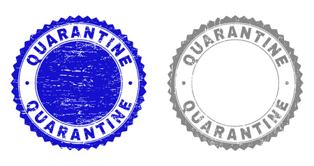 Grunge QUARANTINE stamp seals isolated on a white background. Rosette seals with grunge texture in blue and gray colors. Vector rubber stamp imitation of QUARANTINE text inside round rosette.