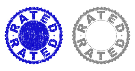 Grunge RATED stamp seals isolated on a white background. Rosette seals with grunge texture in blue and gray colors. Vector rubber stamp imitation of RATED title inside round rosette. Vektoros illusztráció