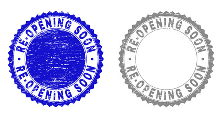 Grunge RE-OPENING SOON stamp seals isolated on a white background. Rosette seals with distress texture in blue and gray colors.