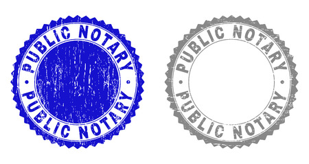 Grunge PUBLIC NOTARY stamp seals isolated on a white background. Rosette seals with grunge texture in blue and grey colors. Vector rubber watermark of PUBLIC NOTARY label inside round rosette.