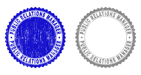 Grunge PUBLIC RELATIONS MANAGER stamp seals isolated on a white background. Rosette seals with grunge texture in blue and gray colors.