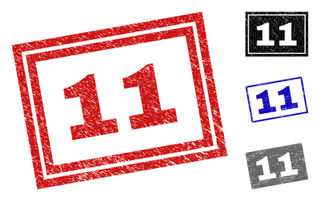 Grunge 11 rectangle stamp seals isolated on a white background. Rectangular seals with grunge texture in red, blue, black and grey colors. Vector rubber imitation of 11 title inside rectangle frames. Stock Illustratie