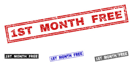 Grunge 1ST MONTH FREE rectangle stamp seals isolated on a white background. Rectangular seals with grunge texture in red, blue, black and grey colors. Banque d'images - 125175747