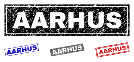 Grunge AARHUS rectangle stamp seals isolated on a white background. Rectangular seals with grunge texture in red, blue, black and grey colors. Illustration