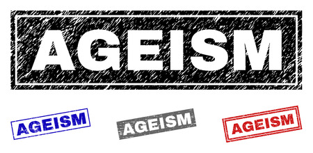 Grunge AGEISM rectangle stamp seals isolated on a white background. Rectangular seals with grunge texture in red, blue, black and grey colors.