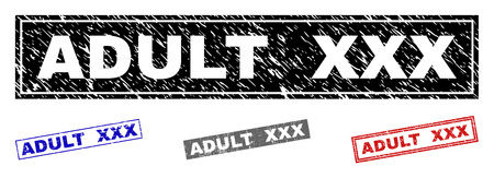 Grunge ADULT XXX rectangle stamp seals isolated on a white background. Rectangular seals with distress texture in red, blue, black and grey colors. Ilustração Vetorial