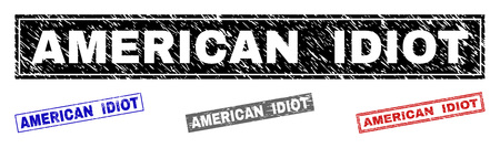 Grunge AMERICAN IDIOT rectangle stamp seals isolated on a white background. Rectangular seals with grunge texture in red, blue, black and gray colors.