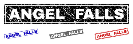 Grunge ANGEL FALLS rectangle watermarks isolated on a white background. Rectangular seals with grunge texture in red, blue, black and grey colors.