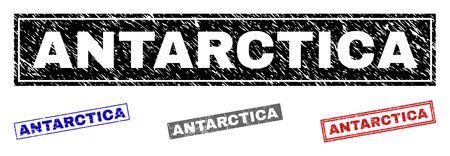 Grunge ANTARCTICA rectangle watermarks isolated on a white background. Rectangular seals with grunge texture in red, blue, black and gray colors.