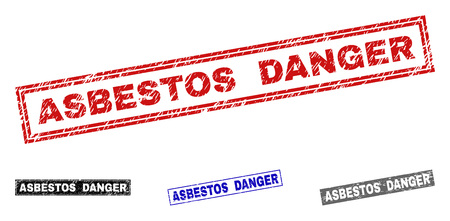 Grunge ASBESTOS DANGER rectangle stamp seals isolated on a white background. Rectangular seals with grunge texture in red, blue, black and gray colors.
