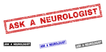 Grunge ASK A NEUROLOGIST rectangle stamp seals isolated on a white background. Rectangular seals with distress texture in red, blue, black and gray colors.