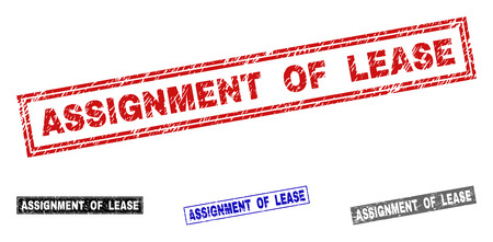 Grunge ASSIGNMENT OF LEASE rectangle stamp seals isolated on a white background. Rectangular seals with grunge texture in red, blue, black and gray colors. Vetores